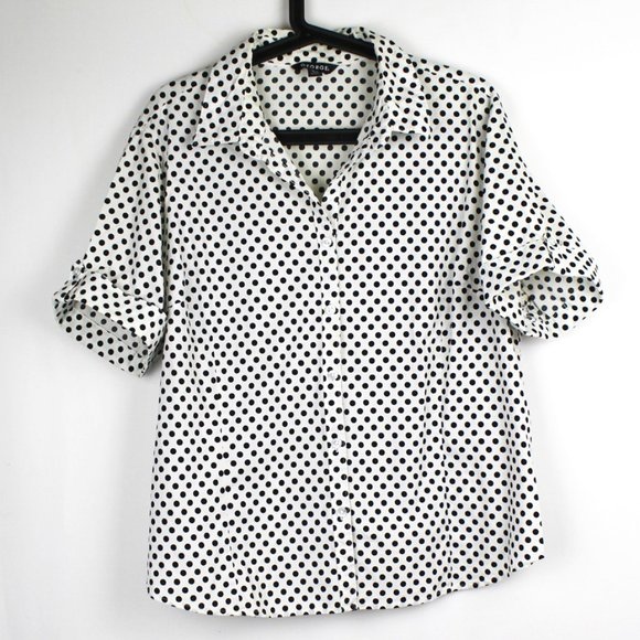 Polka Dot White and Black Button Up Blouse Top XL